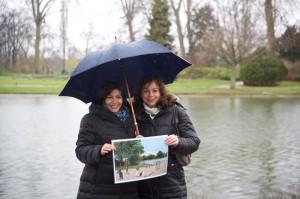 Avec Anne Hidalgo au bord du Lac Daumesnil. Crédits Mathieu Delmestre