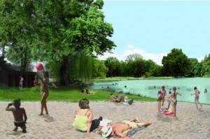 Aménagement envisagé pour le sud du Lac Daumesnil afin d'y permettre la Baignade. DR