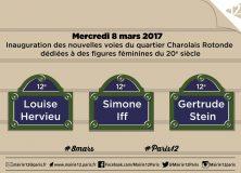 3 rues du 12e en hommage à 3 femmes